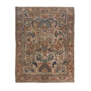 Antique Doroksh Beige Blue and Orange Wool Floral Persian Rug For Sale