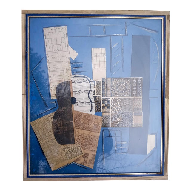 Late 20th Century Cubist Collage Featuring Instrument, Framed For Sale