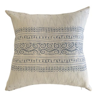 Designer Blue and White Egyptian Geometric Linen Pillows- a Pair For Sale