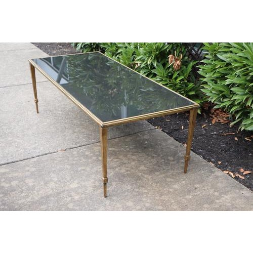 Maison Janson Style Brass Coffee Table With Smoked Glass For Sale In Nashville - Image 6 of 9