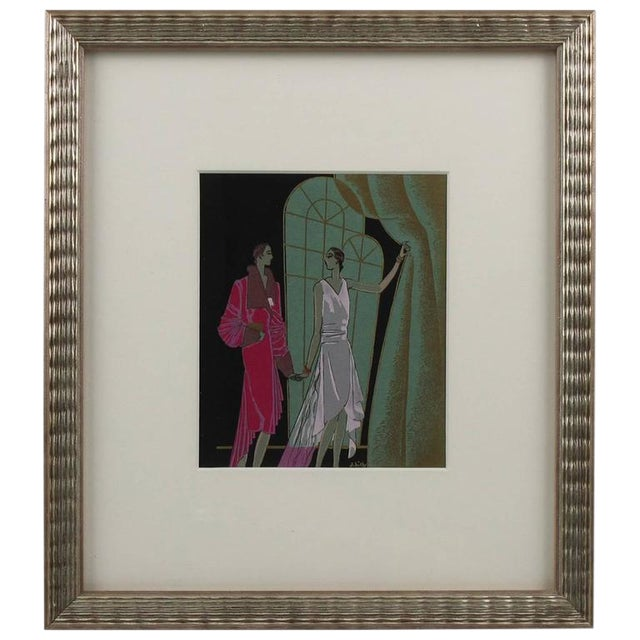 French J. Hilly 1920s Original Art Deco Ink and Gouache Illustration Drawing For Sale