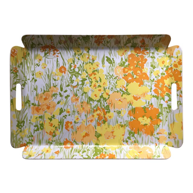 "Vintage D. Porthault 22""Yellow Floral Tray - Image 1 of 4"