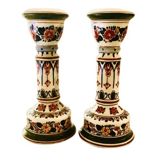 Delft Hand Painted Candle Holders - a Pair For Sale