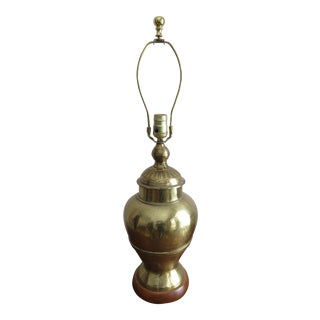 Vintage Chinoiserie Brass Ginger Jar and Wood Table Lamp For Sale