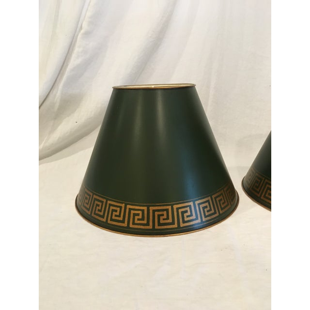 Mid 20th Century Green Tole Painted Metal With Greek Key Border Lampshades - a Pair For Sale - Image 5 of 9