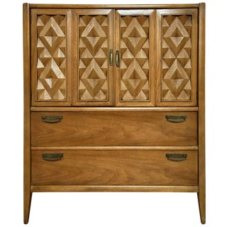 Brutalist Mid Century Modern Armoire Cabinet Chest, Diamond Head Hawaii For Sale