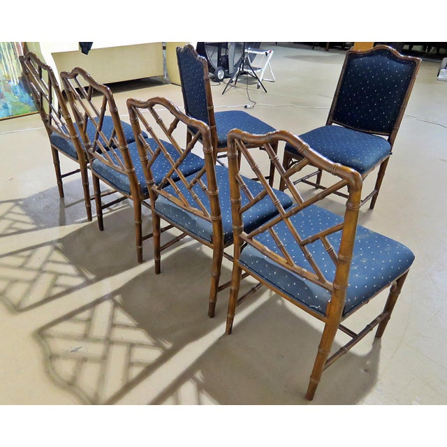 Hollywood Regency Style Faux Bamboo Dining Chairs - Set of 6 For Sale In Philadelphia - Image 6 of 8