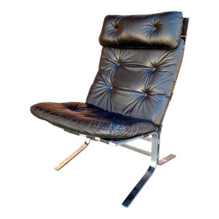 1960s Ingmar Relling Leather and Steel Siesta Lounge Chair For Sale