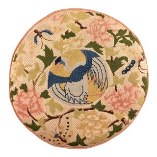 Round Floral Blue Heron and Butterfly Petite Needlepoint Pillow