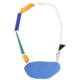 Michel McNabb for Basha Gold Blue Pond Enamel Sterling Silver Chain Necklace For Sale