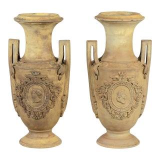 NeoClassical 19th Century Jasperware Urns - a Pair For Sale
