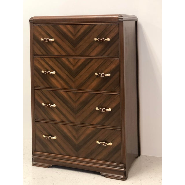 Art Deco Art Deco Walnut Waterfall Edge Chest of Drawers For Sale - Image 3 of 8