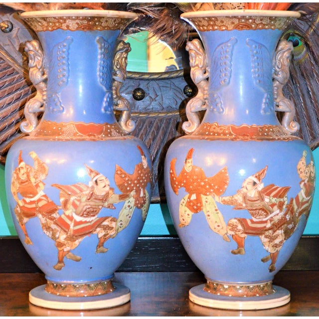 Asian Antique Japanese Blue Satsuma Samurai Vases - a Pair For Sale - Image 3 of 11