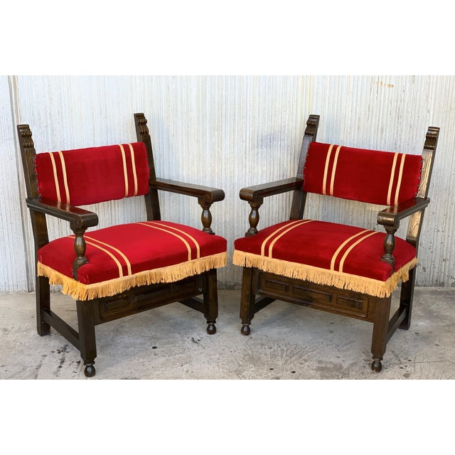 19th Set of Six Spanish Low Armchairs in Carved Walnut and Red Velvet Upholstery For Sale In Miami - Image 6 of 12