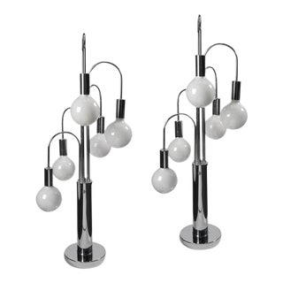 1970s Chrome Table Lamps - A Pair