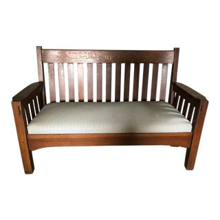 Antique Mission/Arts and Crafts Oak Upholstered Seat Bench For Sale