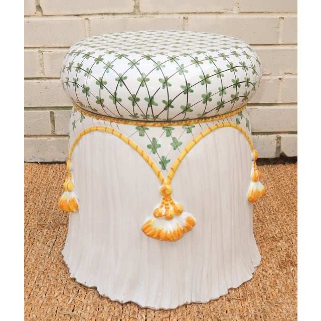 Vintage Italian Ceramic Garden Stool With Tassels For Sale - Image 13 of 13