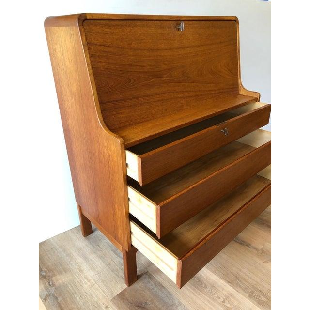 Wood Vintage Danish Modern Teak Drop Leaf Secretary Desk For Sale - Image 7 of 11