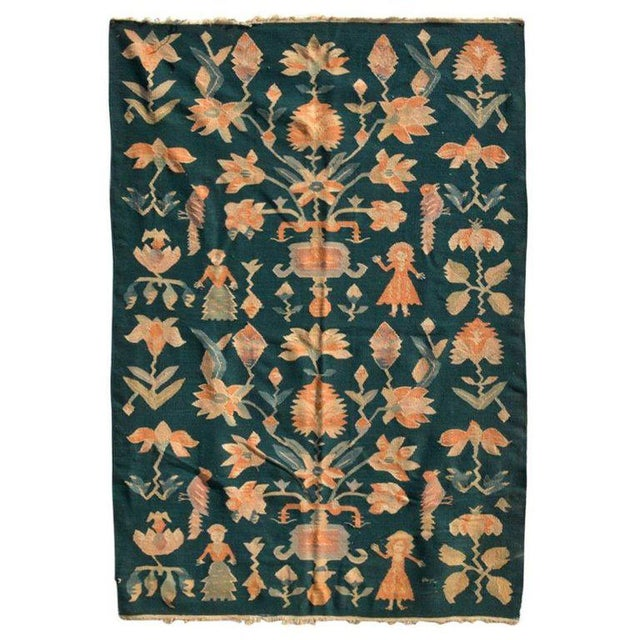 Cotton Mid-Century Modern Wall Tapestry Green Rug For Sale - Image 7 of 7