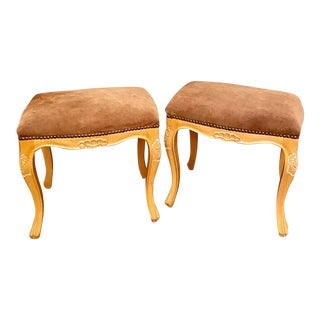 French Provincial Suede Leather Ottomans, a Pair For Sale