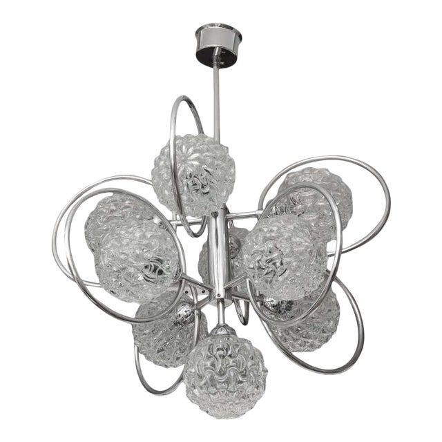 """""""Atomic-Orbital"""" Chandelier in Chrome and Glass For Sale"""