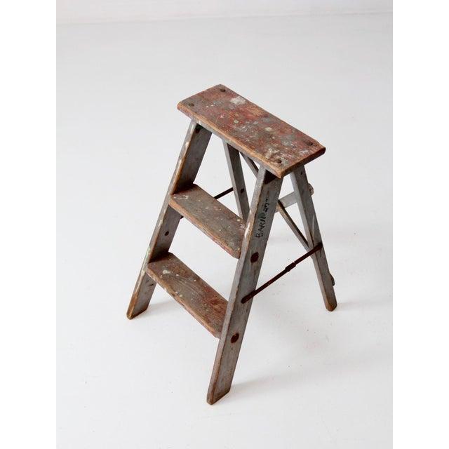 Red Vintage Wooden Step Ladder For Sale - Image 8 of 12