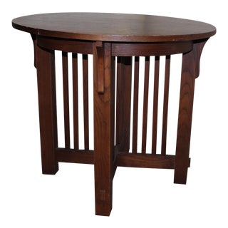 1990s Mission Round Center Table For Sale