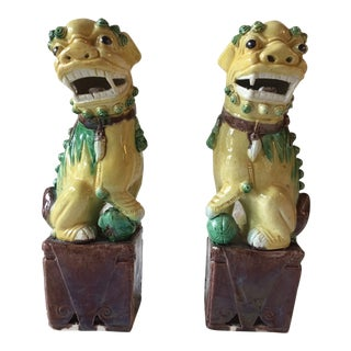 1960s Asian Ceramic Yellow Green Foo Dogs - a Pair For Sale