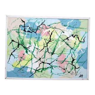 Framed Abstract Painting Signed by Artist For Sale