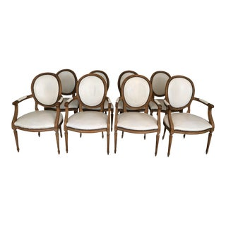 Baker Furniture Leather Dining Chairs - Set of 8 For Sale