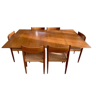 Danish Morgen-Kohl Teak Midcentury Modern Dining Table and 6 Chairs For Sale