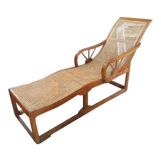 1930's Deco Chaise Cane Lounge Chair