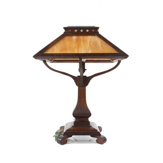 Arts & Crafts Original Mission Oak Table Lamp - Image 6 of 8