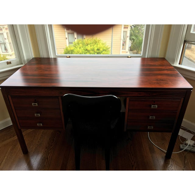Refinished Mid-Century Rosewood Desk For Sale - Image 4 of 4