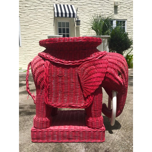 1960s Mid-Century Red Wicker Elephant Table For Sale - Image 5 of 5