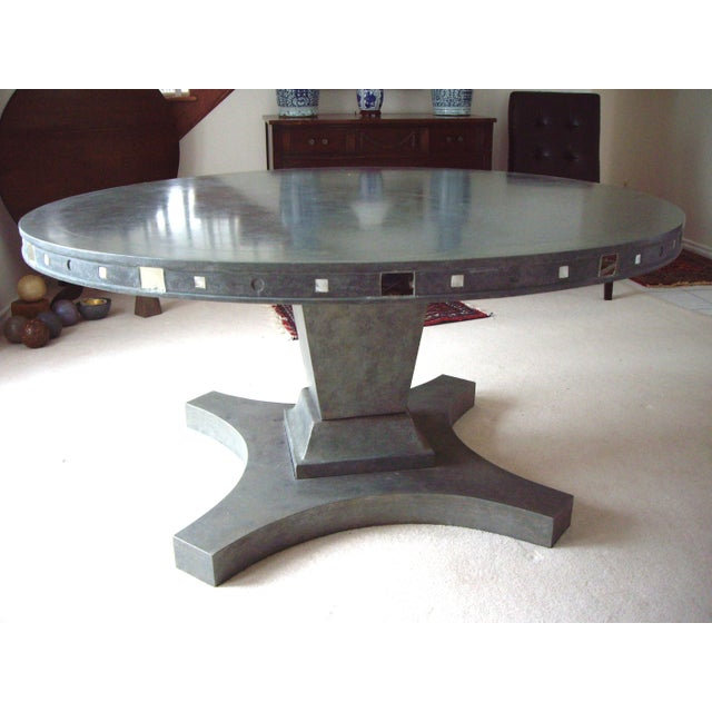 French Provincial Single Pedestal Concrete Dining Table For Sale - Image 6 of 6