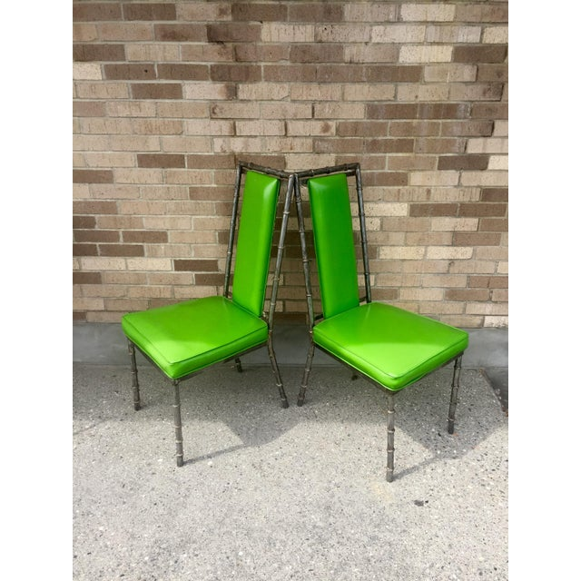 Faux Bamboo Green Metal Chairs - A Pair - Image 2 of 4