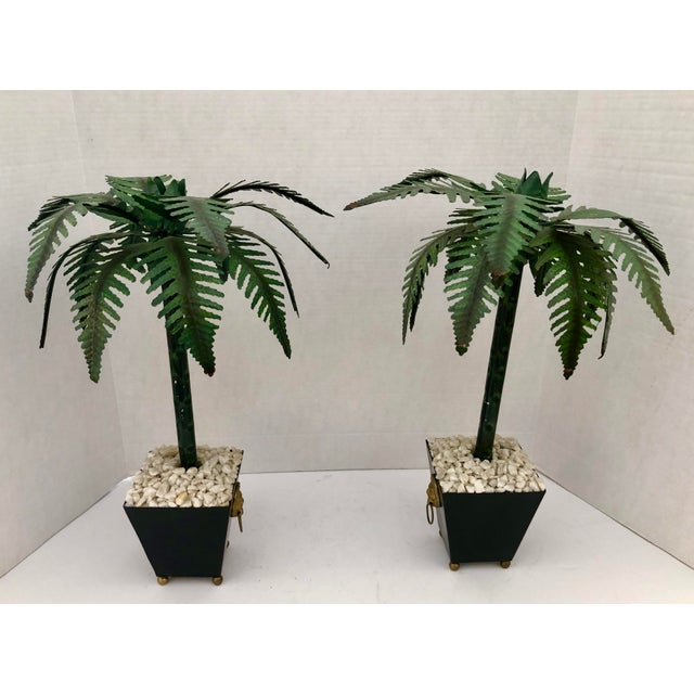 Great Pair of Hollywood Regency Tall Green and Black Tole Painted Palm Tree Candlesticks Holders in Planters with Lion...