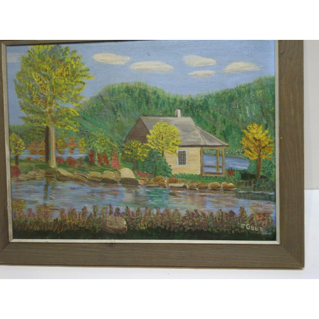 "F. Cobler ""Cabin by the Water"" Original Framed Painting on Board For Sale - Image 4 of 6"