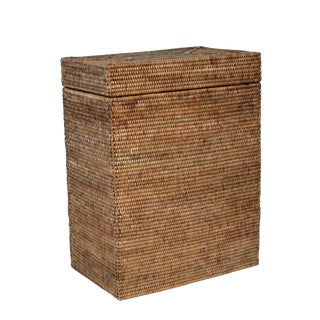Artifacts Rattan Rectangular Hinged Lid Hamper For Sale