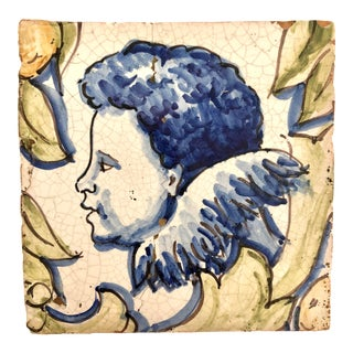 Hand-Painted Cherub Tile For Sale