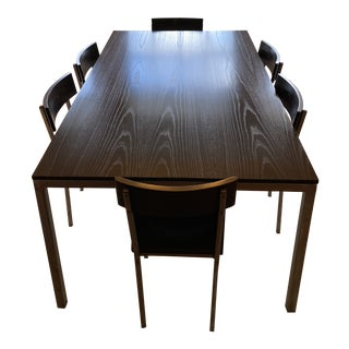 Stainless Steel and Coffee Stained Oak Dining Room Set For Sale