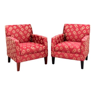 Bernhardt Red Contemporary Chairs - a Pair For Sale