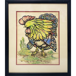 Cuban Art Vintage Abstract Rooster Painting by Luis Pardini For Sale
