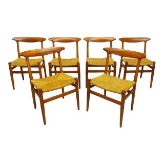 Mid Century Danish Modern Hans Wegner Style Teak Rope Cord Dining Chairs- Set of 6 For Sale