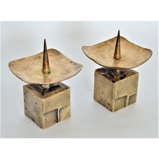 Weiland Basel Switzerland Brutalist Brass Candle Holders - a Pair- Mid Century Scandinavian Modern Candlesticks Millennial - Image 4 of 11