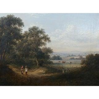 19th Century Enchanting Pastoral Landscape -Oil Painting-English School C1860s
