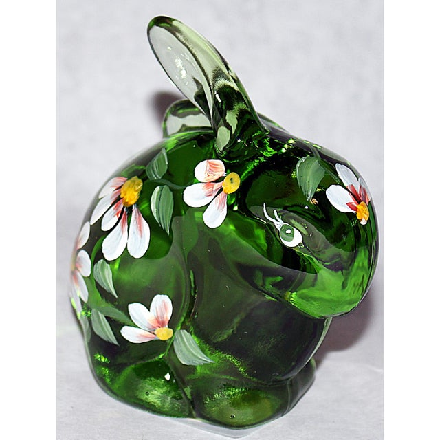 Cottage Fenton Hand Painted Glass Bunny For Sale - Image 3 of 7