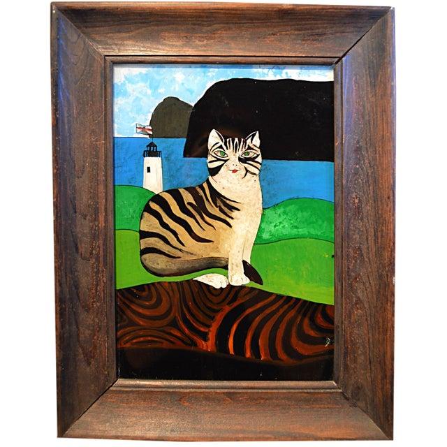 Spanish Folk Art Reverse Painting For Sale