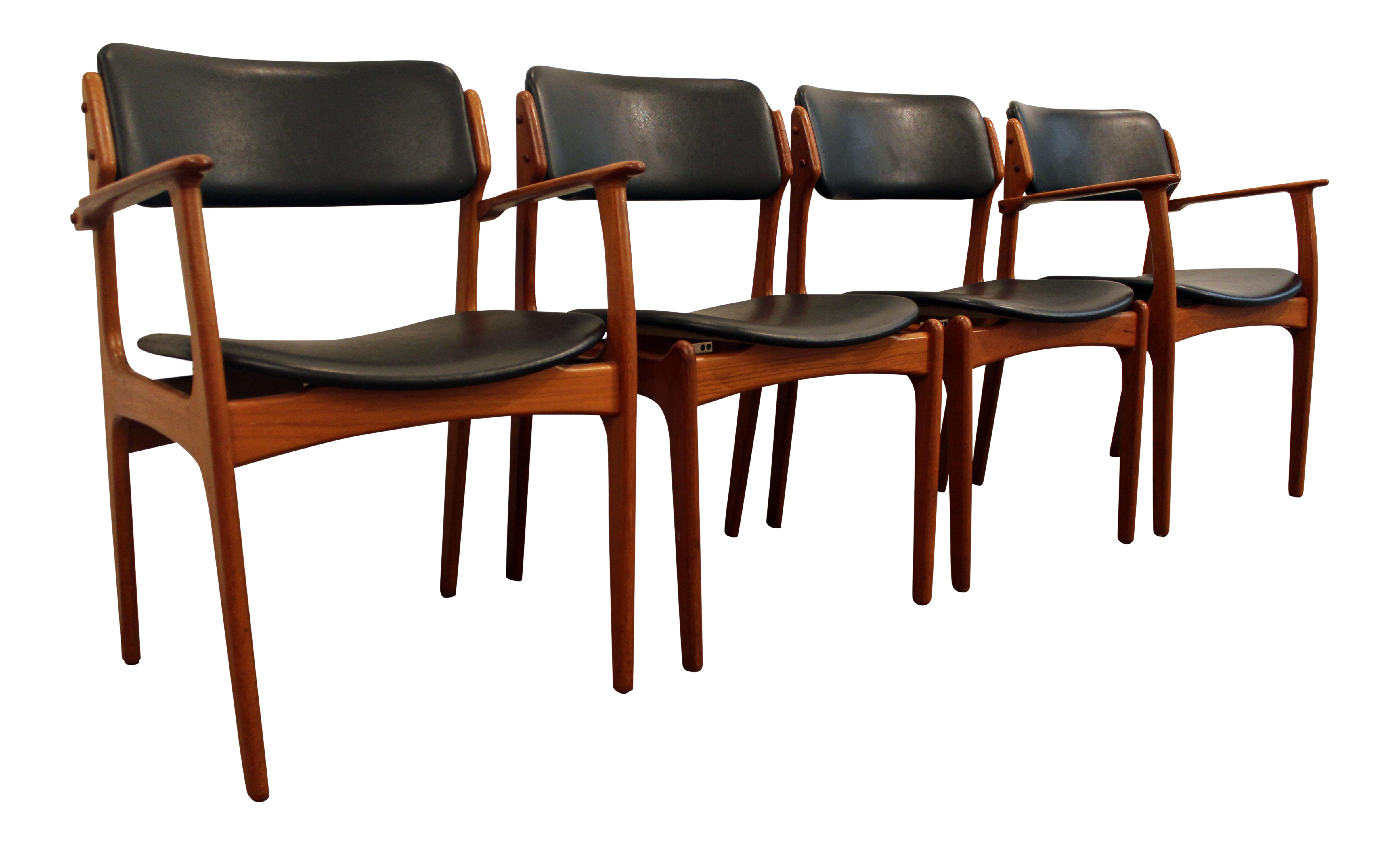 Erik Buch for O D Mobler Teak Dining Chairs Set of 4
